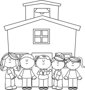 school-kids-school-house-black-white